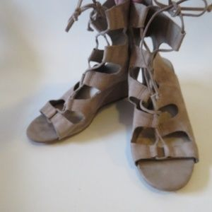 DOLCE VITA SUEDE OPEN TOE LACEUP HEEL SANDALS 7.5*